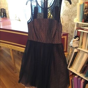 Betsey Johnson Polka Dot Pink Black Dress